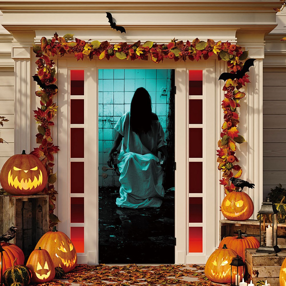 Halloween Haunted House Decor Window Door Cover Sticker