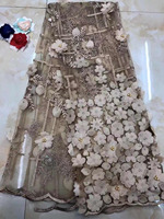 High Quality Nigerian 3D Wedding Lace Fabric coffee Latest African Laces 2018 French Net Lace Fabric With beads for Dress