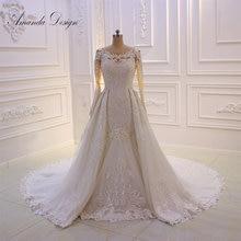 Amanda Design gelinlik Long Sleeve Lace Appliqued African Wedding Dress with Detachable Skirt