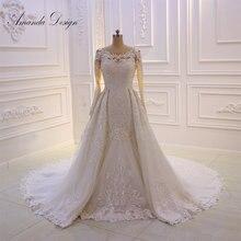 فستان زفاف أفريقي مطرز بالدانتيل بأكمام طويلة من Amanda Design gelinlik مع تنورة قابلة للفصل