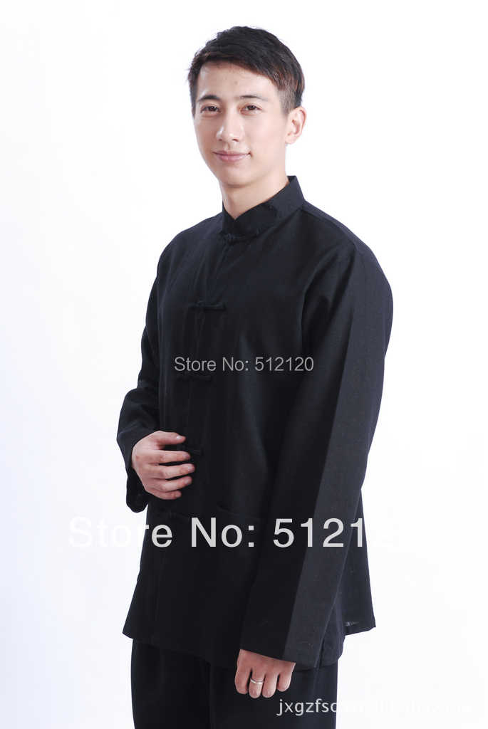 上海ストーリー長袖中国伝統服固体綿とリネンシャツマンダリン襟カンフーシャツための男
