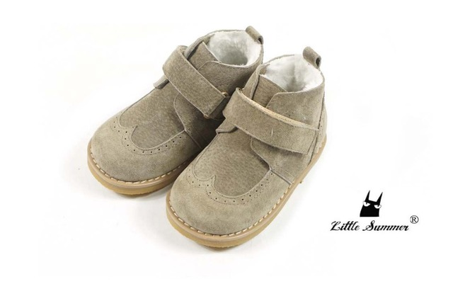 New Hard Rubber Sole baby fashion infant shoes Winter Genuine suede leather baby moccasins with fur kids boys girls snow boots