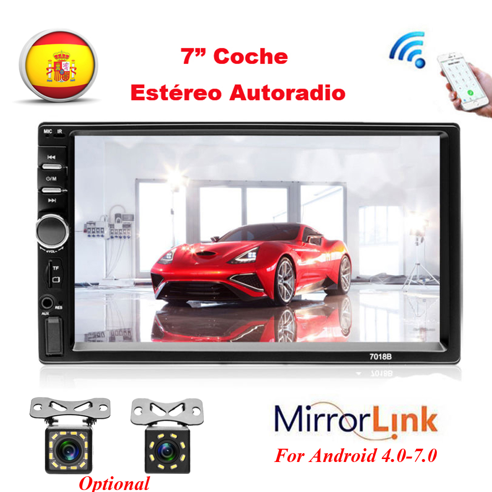 Hikity Autoradio <font><b>2</b></font> <font><b>Din</b></font> Car <font><b>Radio</b></font> Recorder 7 inch Touch Screen Car Audio Bluetooth Rear View Camera Mirrorlink <font><b>7018B</b></font> MP5 Player image