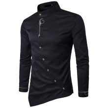 NEW 2019 Fashion spring autumn Casual irregular oblique button embroidery men long sleeve shirt gentleman evening dress shirts
