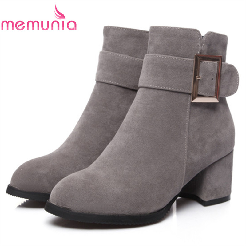 MEMUNIA Pointed toe zip solid high heels boots female fashion shoes woman ankle boots for women in autumn big size 34-43 memunia 2017 fashion flock spring autumn single shoes women flats shoes solid pointed toe college style big size 34 47