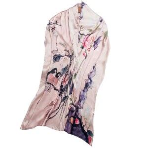 Image 3 - Осенний шелковый шарф женский зимний модный Шелковый шарф в китайском стиле с принтом пашимина Ари кольцевые шарфы женский аксессуар 170X46cm TT395