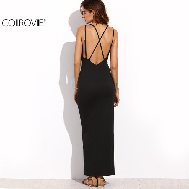 COLROVIE Tight Dress Little Black Dress European Style Women Dress Black Spaghetti Strap Criss Cross Back Split Long Dress