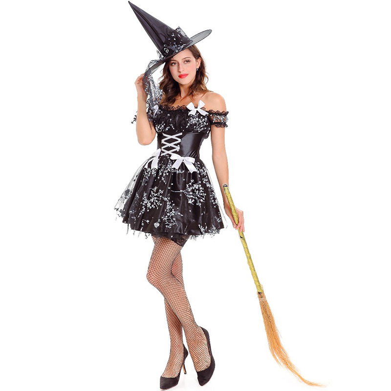 Black Vampire Costume Clothing Evil Outfit <font><b>Halloween</b></font> <font><b>Sexy</b></font> <font><b>Women</b></font> Short Dress Adult Anime <font><b>Witch</b></font> Party Terror Role Play Costumes image