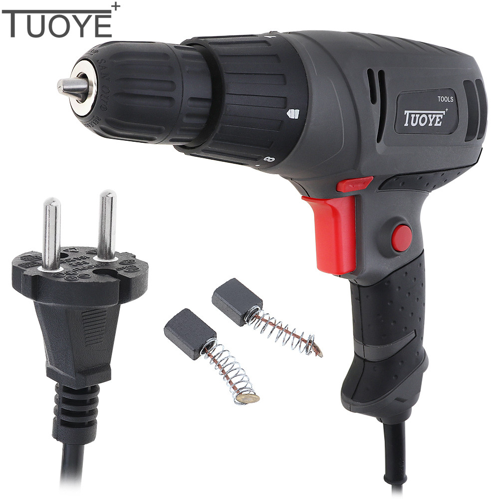 TUOYE 300W Gray Multi-functional Electric Drill Screwdriver Power Tools with Rotation Adjustment Switch and 2pcs Carbon Brushes dark gray off shoulder jumpsuit with multi functional neck