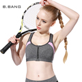 B.BANG 2017 New Women Fitness Bra with Front Zipper Exercise Shakeproof Bras Padded Workout Quick-Dry Push Up Underwear