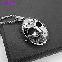 AMUMIU Pendant Necklace Jason's Horror Mask Terrible Silver Color Stainless Steel Punk Vintage P006 sr 50pcs lot 160g p006