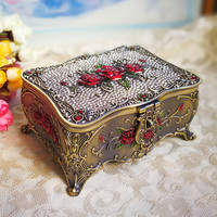 M size europe bronze Storage Box Makeup Organizer Jewelry Box diamond painting accessories drawer organizer for girl gifts Z067