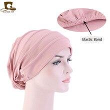 Nieuwe Moslim Vrouwen Stretch Slaap Chemo Hoed Beanie Slaap Tulband Hoofddeksels Cap Head Wrap Voor Kanker Haaruitval Accessoires