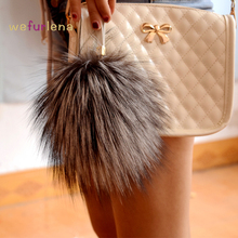 Free Shipping 2017 13 18CM Silver Fox Fur Keychain Ball PomPom Cell Phone Car Keychain Pendant