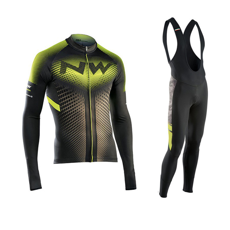 2017 Pro NW Team Cycling Jersey Quick Dry Long Sleeve Jerseys And Cycling Bib Pants Set Cycling Clothes Breathable 3 Color 3d silicone cube 2012 team long sleeve autumn bib cycling wear clothes bicycle bike riding cycling jerseys bib pants set