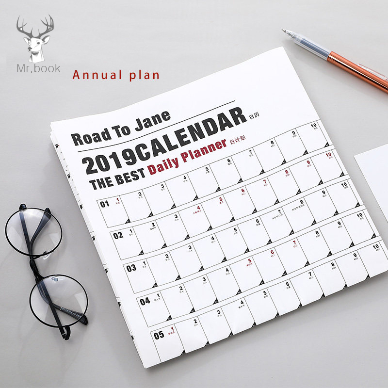 Kalender, Planer Und Karten 2019 Cartoon 365 Tage Wand Kalender Papier Jährlich Kalender Planer Tag Zeitplan Agenda Neue Jahr Planer Geschenk 7 Arten