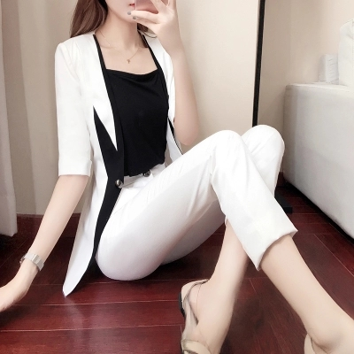 New women's spring fashion small suit two-piece spring black and white stitching suit suit female 3