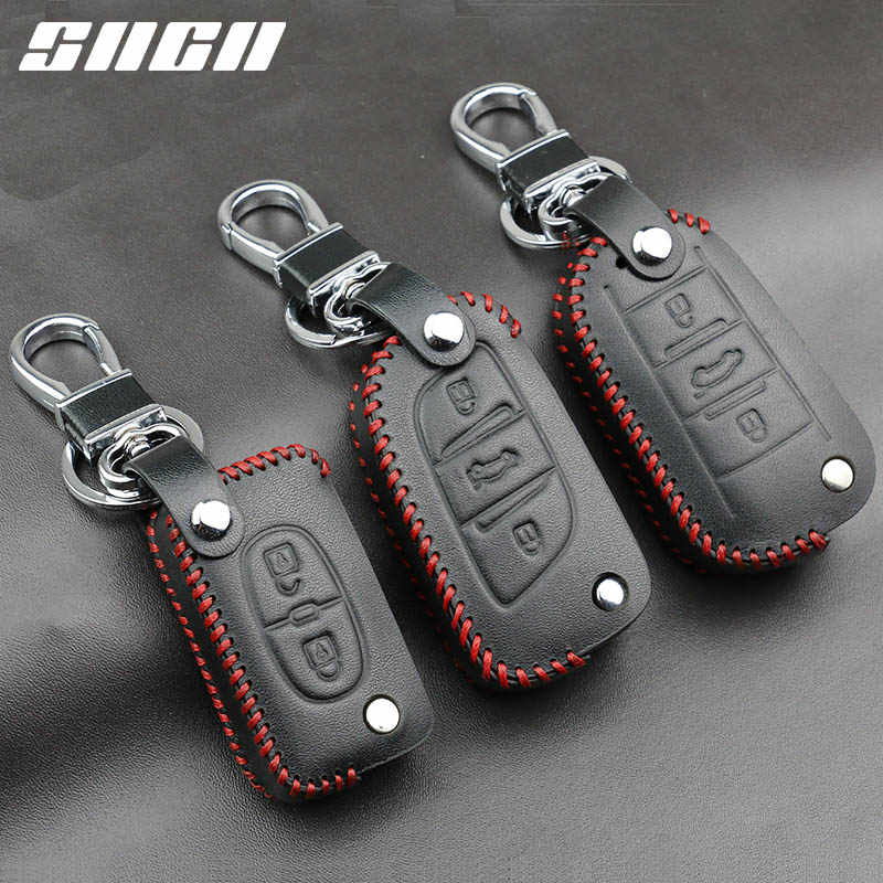 Genuine Leather Car Key Case Covers Keychain For Peugeot 107 207 307 308 407 607 206 208 301 406 407 408 508 2008 3008 4008