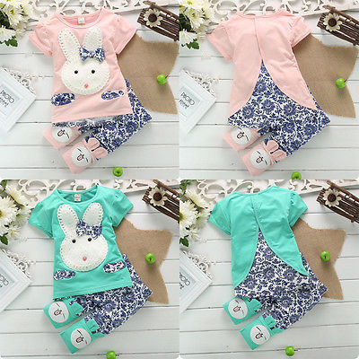 2016 Hot Sale 2PC New Baby Kids Top Short Pants Set Clothes Cute Rabbit Girls Clothes Pink Green baby girl boys clothes Set