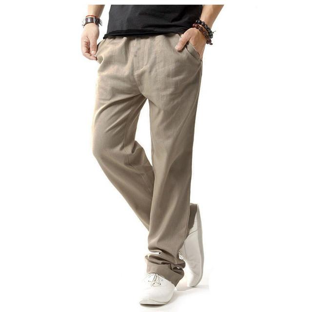 2016 Para Hombre Otoño de Color Caqui de Algodón de Lino Pantalones Casuales Verano Fahion Gran Tamaño Súper Transpirable Pantalones de Los Hombres