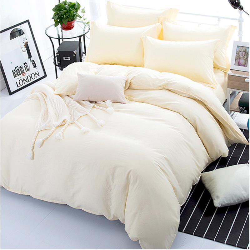 Hotel Bedding Set 100% Cotton Cheaper Duvet Cover Set Solid AB Side Bedding Milk White Bed Linens Wedding Gift 3/4pcs Bedclothes