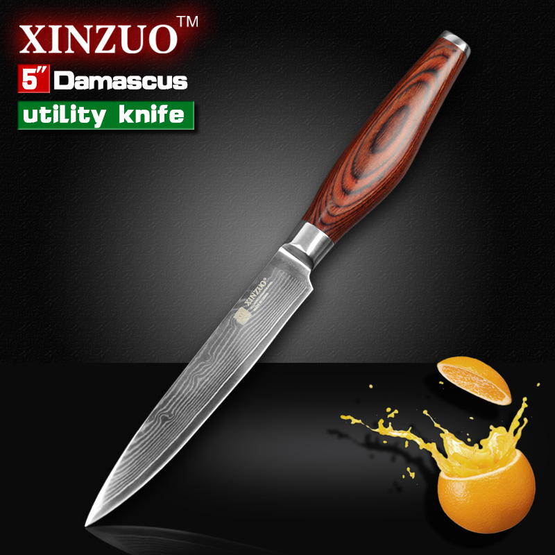 XINZUO 5 inches utility font b knife b font Japanese Damascus steel kitchen font b knives