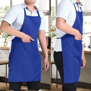 Image 2 - Pure color Cooking Apron For Woman Men Kitchen Thicken Household Cleaning Apron Cotton Polyester with Double Pocket Dropshiping