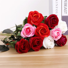 10 Pcs High Quality Simulation Artificial Rose Flowers Flannel Bouquet For Home Party Wedding Decoration