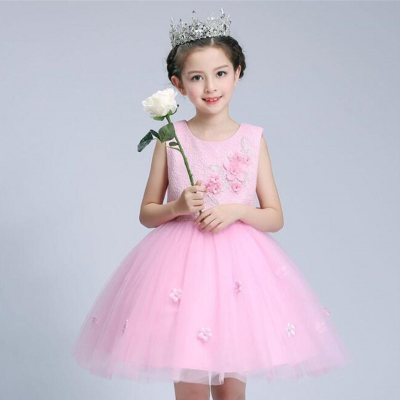 Pink Summer Girls Dress Wedding Party Princess Christmas Dresses for girl Party Costume Kids Lace Tulle Teenager Girls Clothing summer 2017 new girl dress baby princess dresses flower girls dresses for party and wedding kids children clothing 4 6 8 10 year