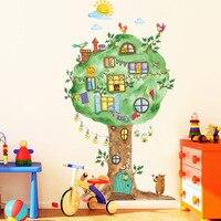 Cartoon Boom Huis Vinyl Muurstickers voor kinderkamer Kleuterschool babykamer Wanddecoratie Home Decor Art Decals Muurschildering dc8