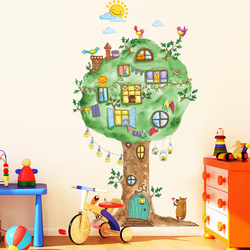 Cartoon Tree House Vinyl Wall Stickers for Kids room Kindergarten Baby room Wall Decoration Home Decor Art Decals Mural dc8