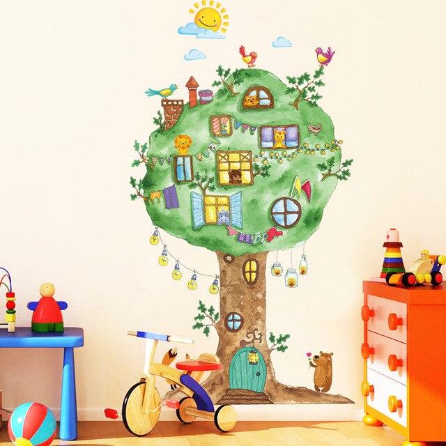 Phim hoạt hình Cây Nhà Vinyl Dán Tường cho phòng Trẻ Em Mẫu Giáo Bé phòng Tường Trang Trí Nội Thất Trang Trí Nội Thất Art Decals Mural dc8