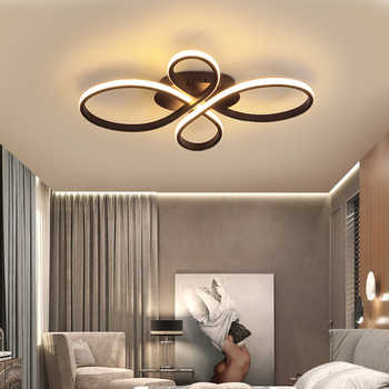 New Hot RC White/Coffee Finish Modern Led Chandelier For Living Room Bedroom Study Room Dimmable Ceiling Chandelier Fixtures