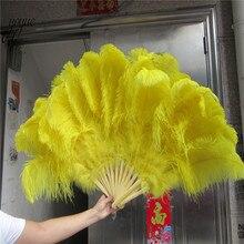 1pcs 12 바 노란색 타조 및 marabou 깃털 팬 burlesque showgirl & boudoir 장식 깃털 팬 댄스 파티 웨딩 소품