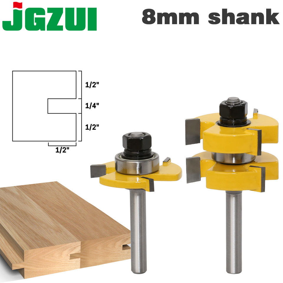 2pc 8mm Shank Tongue & Groove Router Bit Set - Large Stock up to 1-1/4