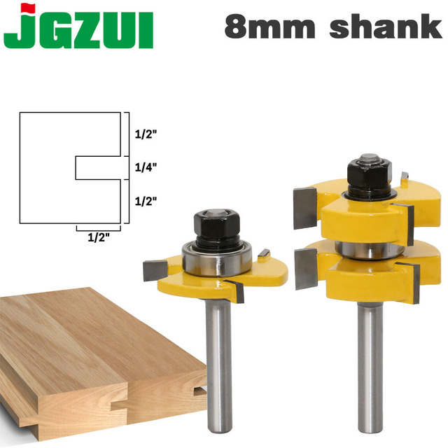 "2pc 8mm Shank Tongue & Groove Router Bit Set   Large Stock up to 1 1/4"" Woodworking cutter Tenon Cutter for Woodworking Tools"