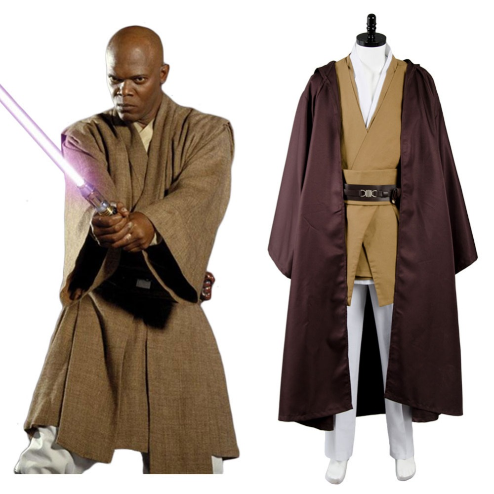 Star Wars Jedi Master General Mace Windu Tunic Cosplay Suit Outfit Cloak Halloween Cosplay Costume Adult Men Full Set