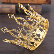 Warna Emas Ratu Raja Tiara Crown Baroque Retro Tiaras dan Crowns Pageant Crown Princess Prom Hair Perhiasan aksesoris