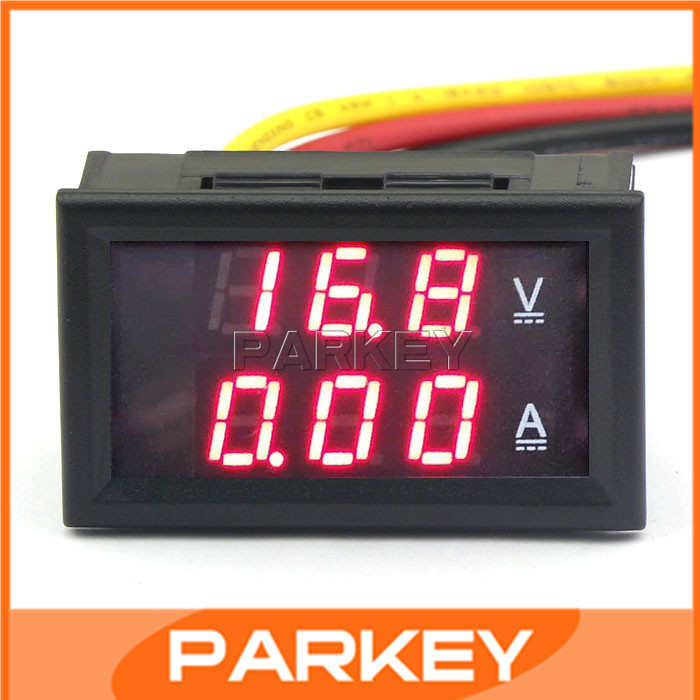 100 шт. Батареи Индикатор Вольт Ампер Panel <font><b>Meter</b></font> DC 4.5-30 В/2A Амперметр Вольтметр Красный СВЕТОДИОД Напряжение детектор #210030