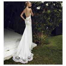 SoDigne 2018 düğün elbisesi Aplikler Dantel Mermaid gelinlik ile Tren Beyaz/Fildişi Backless Plaj Gelin Elbiseler G1019