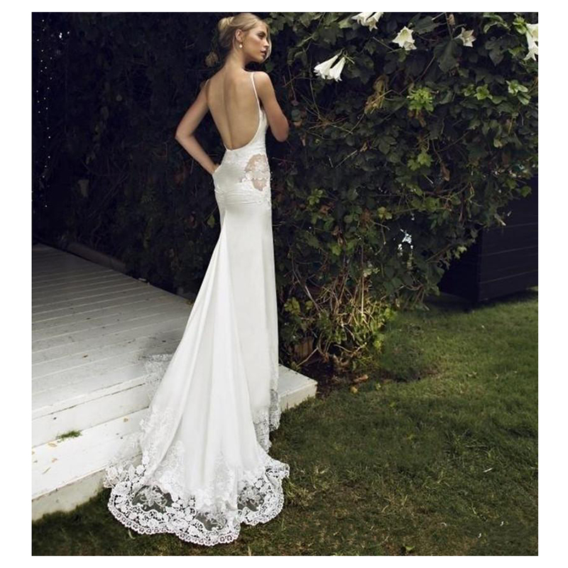 SoDigne  Mermaid Wedding dress Appliques Lace Spaghetti Straps Wedding Gown White / Ivory Backless Beach Bride Dresses 2019
