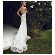 SoDigne  Mermaid Wedding dress Appliques Lace Spaghetti Straps Wedding Gown White / Ivory Backless Beach Bride Dresses 2019 цена и фото