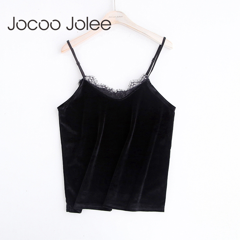 Jocoo Jolee Women Sexy Velour Camis with Lace Design V neck Women Short Female Tops Party Blouse Hot Sale 2017 Global Shopping