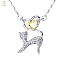 YFN 925 Sterling Silver Vintage Love Heart Cat Pendant Necklace Rhinestone Crystal Box Chain Necklaces