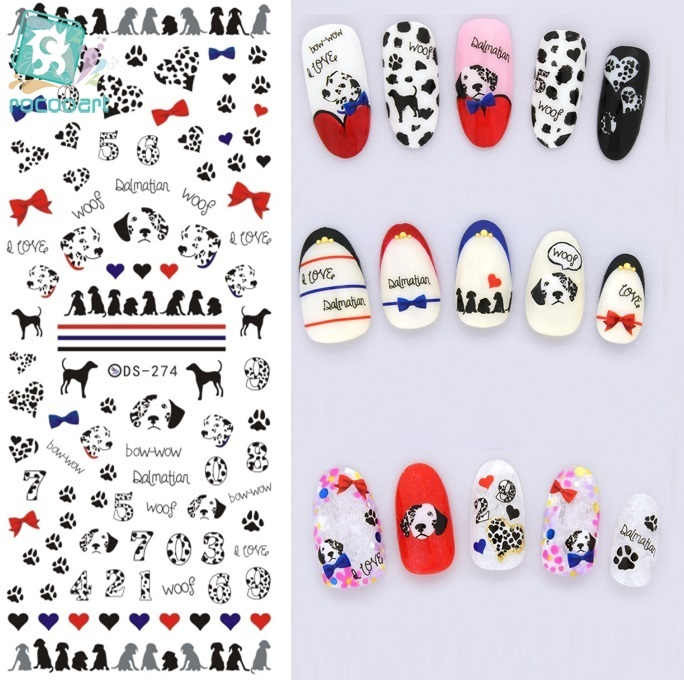 Rocooart DS274 Water Transfer Foils Nail Art Sticker Harajuku Pet Dogs Blue Red Water Decals Manicure Decorations Tools Sticker rocooart dls377 382 water foils nail art sticker fashion nails cartoon harajuku sailor moon decals minx nail decorations
