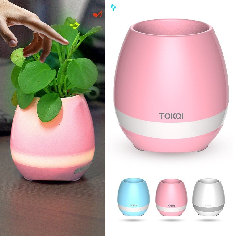 Image 3 - Music Flower Pot Speaker Smart Wireless Finger Bluetooth Switch Office Living Room Decoration Home Speaker Desk Touch Night LED-in Portable Speakers from Consumer Electronics