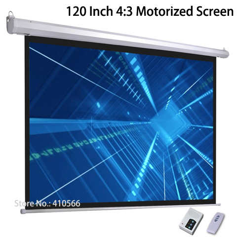 High Definition 120 Inch Diagonal 4:3 Ratio Cinema Projector Screen Good Image Motorized Projection Screens For Office Home Use
