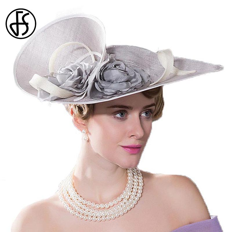 FS Elegant Royal Woman Large Brim Sinamay Wedding Dress Hat Flowers Gray Linen Summer Fedoras Dress Party Kentucky Derby Hats-in Women's Fedoras from Apparel Accessories