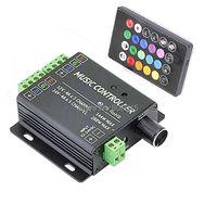 DC12V 24V 12A 4Ax3CH 2 port Music Active RGB Controller with 24Key IR Wireless Remote for 5050 3528 2835 RGB LED Strip
