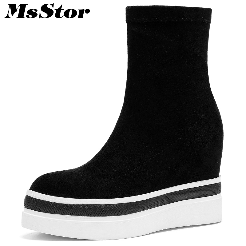 MsStor Thick Bottom Women Boots Fashion Platform Ankle Boots Women Shoes Elegant Flat With Height Increasing Boots Shoes Woman цена